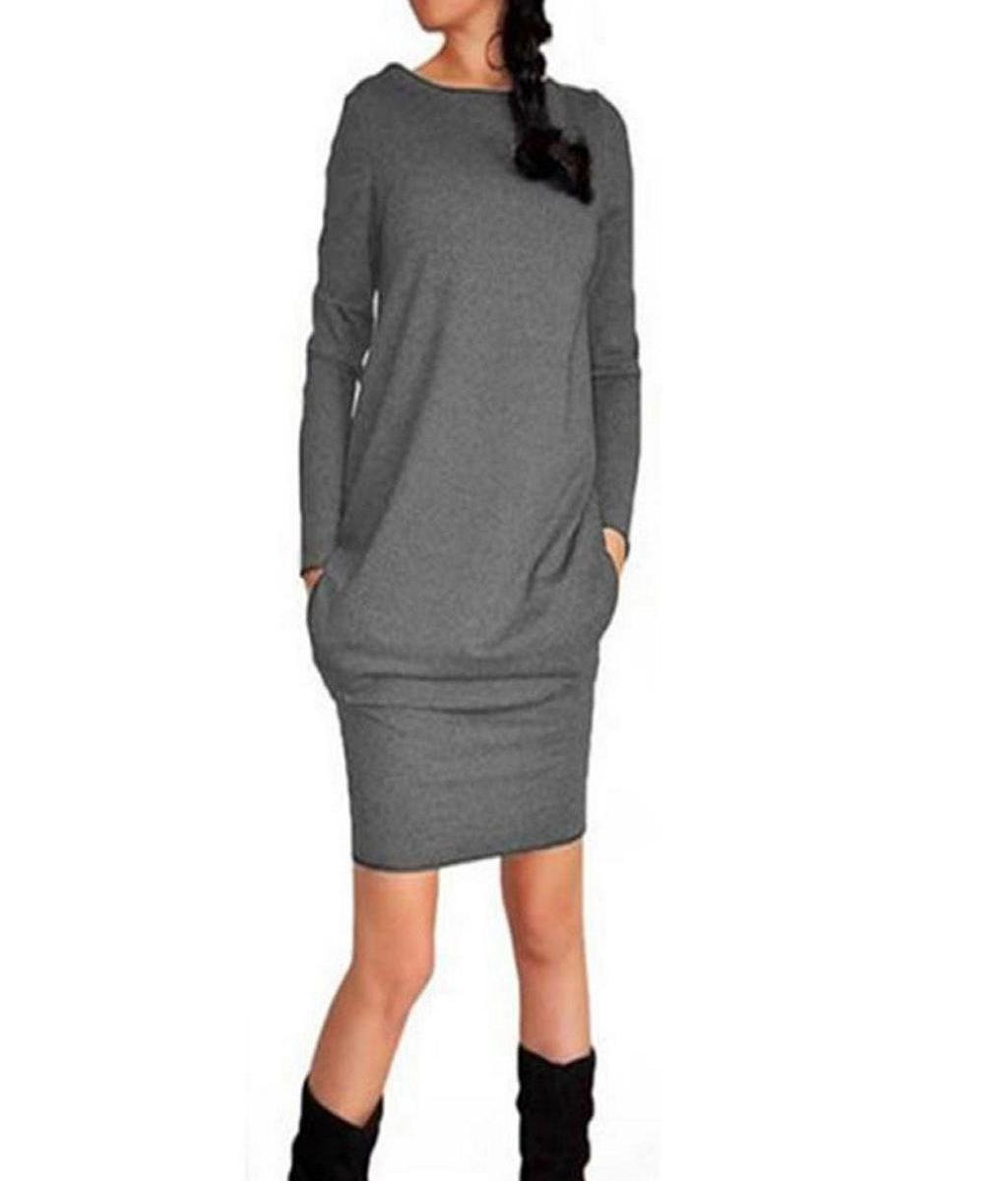 Rcool Damen neue trendige Polyester O-Ausschnitt Röcke Casual Herbst Winter  Paket Hip Kleid: Amazon.de: Bekleidung