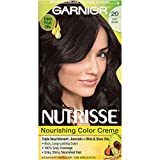 soft black hair color - Garnier Nutrisse Nourishing Hair Color Creme, 20 Soft Black (Black Tea)  (Packaging May Vary)