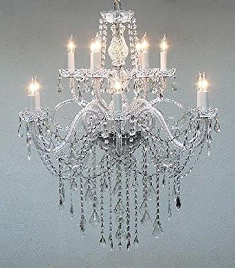 AUTHENTIC ALL CRYSTAL CHANDELIER H38 X W32