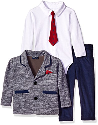 Boyzwear Baby Boys' 3 Piece Knit Blazer Creeper With Printed Tie and Pant