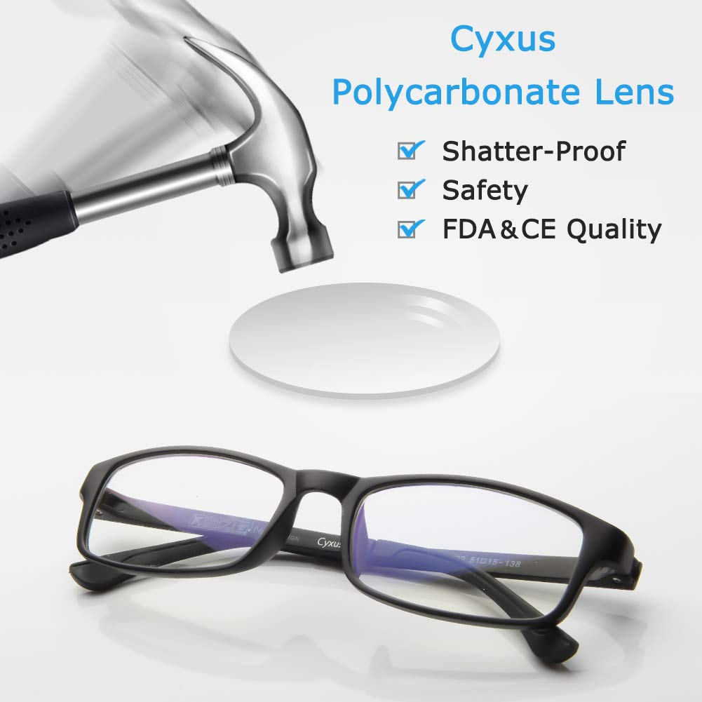 6b125884f59aa Amazon.com  Cyxus Blue Light Blocking  Lightweight TR90  Glasses for Anti  Eye Strain Headache Computer Use Eyewear