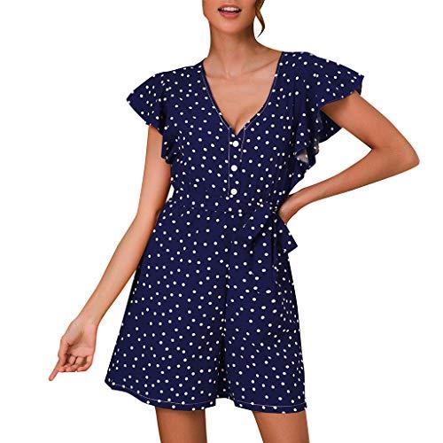 Women's Loose Casual Ruffle Cap Sleeve Short Jumpsuits,Polka Dot Print Flowy Ruched Waist Belt Summer Rompers (XL, Dark Blue)