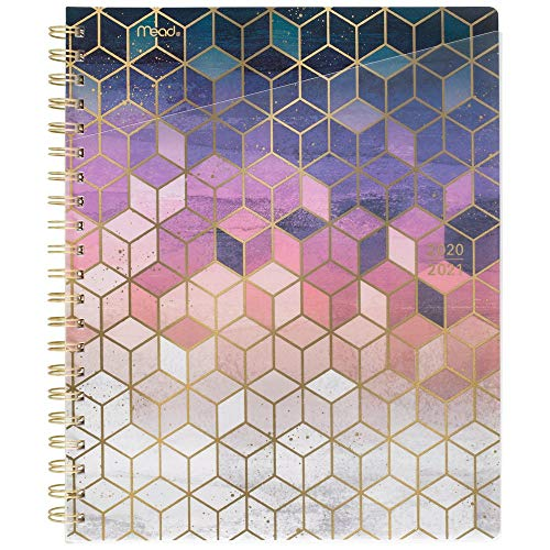 """Academic Planner 2020-2021, Mead Student Weekly & Monthly Planner, 8-1/2"""" x 11"""", Large, Modern Chic, Cubes (1414C-905A)"""