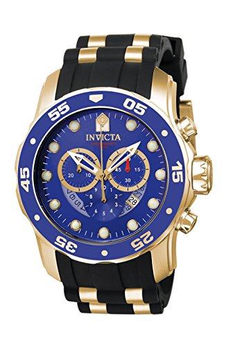 Dial Chronograph Blue Bezel (Invicta Men's 6983 Pro Diver Collection Chronograph Blue Dial Black Polyurethane Watch)