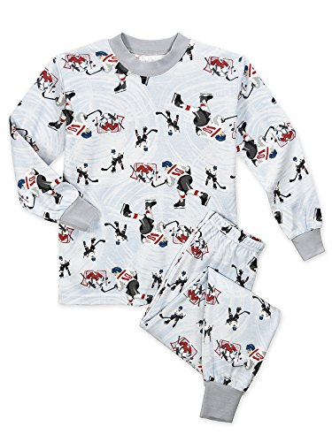 Sara's Prints Little Boys' Super Soft Relaxed Fit Pajama Set, Hockey Guys-HKG, 4 (Hockey Pjs For Boys)
