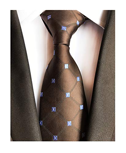 Dark Brown Holiday Neckties Check Silk Tie Suit Fitness Dating For Men Youth Boy ()