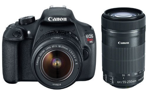 Canon EOS Rebel T5i DSLR Camera with 18-55mm Lens + 55-250mm