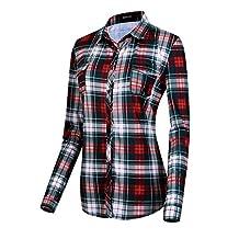 Urban CoCo Women's Classic Plaid Shirt Button Down Long Sleeve Blouse