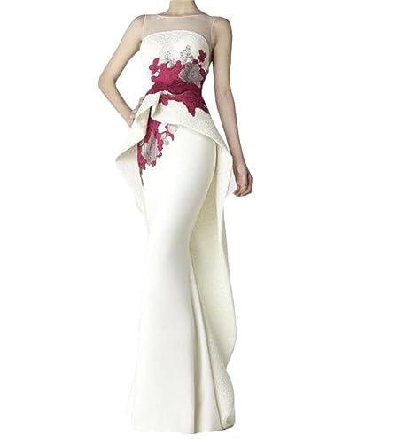 Dydsz Women's Sheer Back Long Mermaid Evening Dresses Formal Gowns Plus Size D32