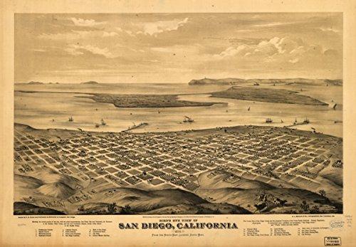 Map: 1876 Bird's eye view of San Diego, California 1876|California|San Diego|San - Fashion Wiki Designers