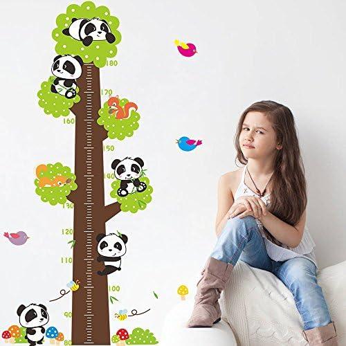 V/ögel /& Pilz-Bunte Entfernbare DIY Vinyl Wandsticker 80-180cm Machthaber f/ür Kinderzimmer,Schlafzimmer Wandtattoo Messlatte Pandas im Enormen Baum Cartoon Wand-Aufkleber mit Eichh/örnchen