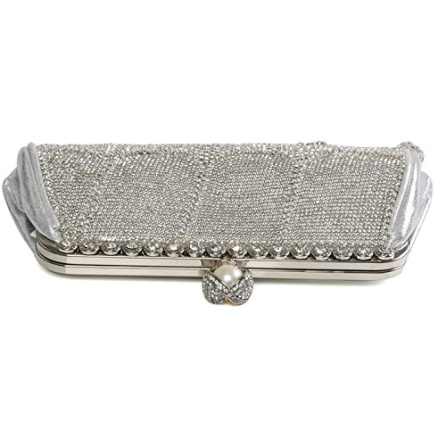 Silver Wedding Rhinestones Metallic Shiny Evening Bag Women's Handbag Sparkling Fringe Crystals Clutch Handle Ladies Diamante qYvA6Sw