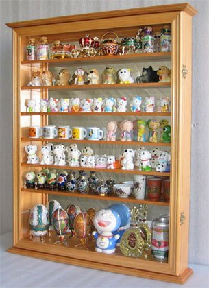 Wall Display Case Cabinet for Miniature Shoes, Miniatures Figurines, Wall Curio Cabinet ((Oak - Curio Oak Solid Cabinet