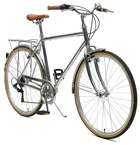 Critical Cycles Beaumont-7 Seven Speed Men's Urban City Commuter Bike, Chrome, 50cm (Small)