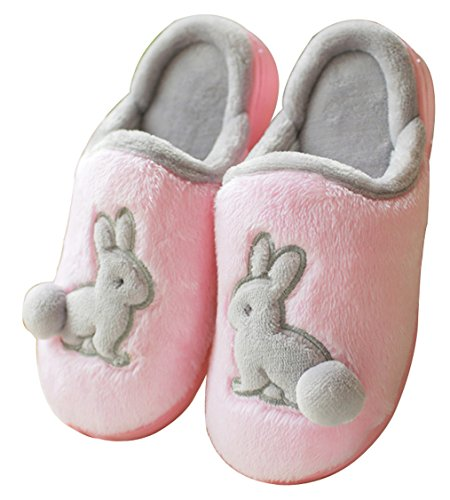 Blubi Women's Plush Closed Toe Bunny Slippers Warm Cute Slippers