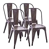Trustiwood Set of 4 Industrial Metal Dining Chairs Stackable Design Stools Indoor-Outdoor Use Chic Tolix for Kitchen,Dining,Bistro,Cafe Side Metal Chairs Brown Review