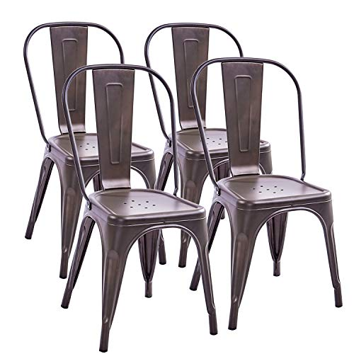 Trustiwood Set of 4 Industrial Metal Dining Chairs Stackable Design Stools Indoor-Outdoor Use Chic Tolix for Kitchen,Dining,Bistro,Cafe Side Metal Chairs Brown