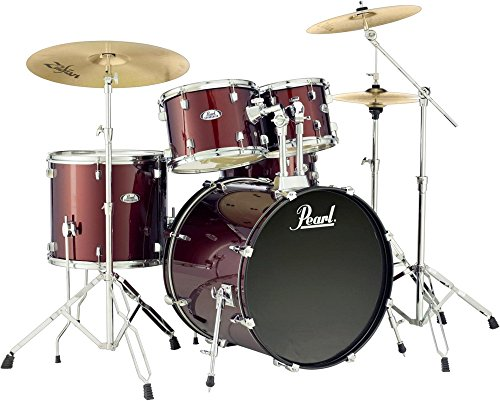pearl-soundcheck-complete-5-pc-drum-set-with-hardware-and-zildjian-planet-z-cymbals-wine-red