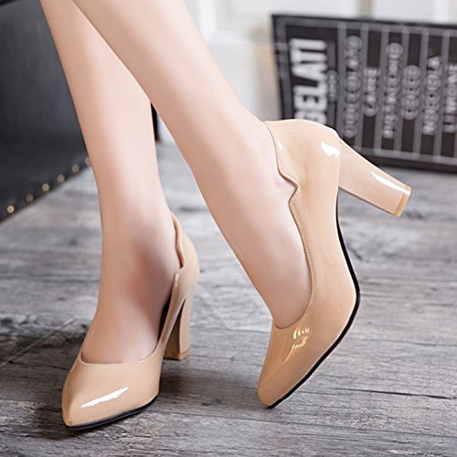 Professional Burnished Chunky Shoes Slip Aisun Heel Mid Dressy Womens Pointed Pumps Low Cut Nude Toe On Uwxfanq5x