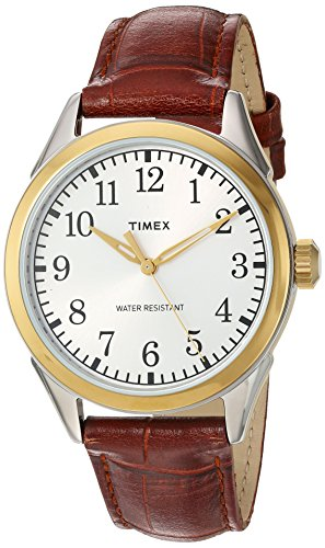 Timex Men's TW2P99500 Briarwood Terrace Brown Croco Pattern Leather Strap -