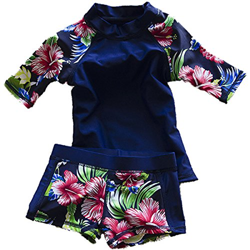 Baby Girls Kids Toddler Two Piece Round-Neck Rash Guard UV Sun Protection Swimsuit (6-7 Years, Navy)
