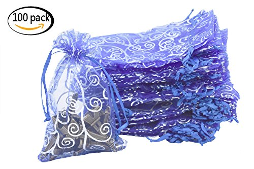 Organza Drawstring Pouches 4x6 Inches 100Pcs for Jewelry Gift Candy Party Wedding Favor Bags (Blue with silver, 4x6inch)