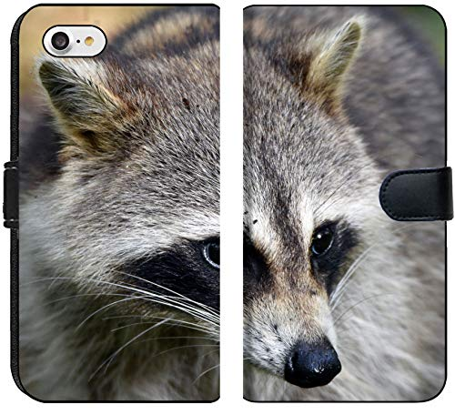 Apple iPhone 8 Flip Fabric Wallet Case Image of Raccoon Mammal Animal Fur Black White Cute Grey Nature Head face bathe Wildlife Nose mask]()