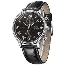 Geschenke für Männer BUREI Schwarz Herren Uhren Chronograph mit Echtleder Armbanduhr und Römische und Arabische Zahlen