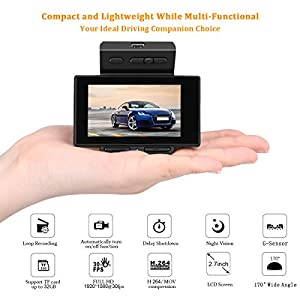 "PEMENOL Dashboard Camera Full HD 1080P 2.7"" LCD 170 Degree Wide Angle Car DVR Camcorder Super Mini Dash Cam Recorder with G-Sensor, Loop Recording, WDR"