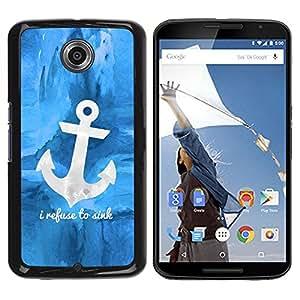 Be Good Phone Accessory // Dura Cáscara cubierta Protectora Caso Carcasa Funda de Protección para Motorola NEXUS 6 / X / Moto X Pro // Blue Anchor Sea Sailor Boat Ship