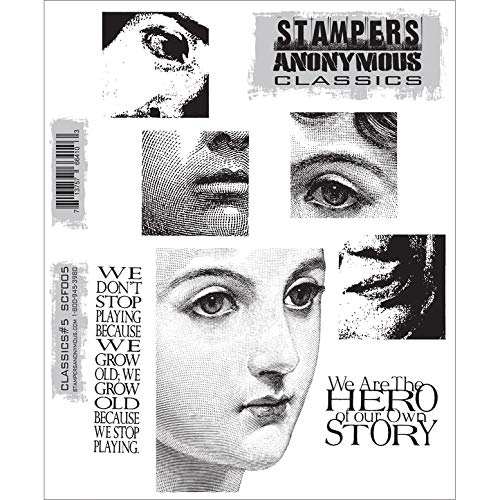 Stampers Anonymous Rubber Stamp Set, 7 by 8.5-Inch, Classics No.5
