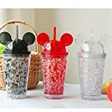 RIANZ ice Cream Cup with Straw Crushed Ice Creative Water Glass Cold Drink Mug Bottle gift for Diwali/gift for friend/gift for kids/gift/Diwali gift idea/gift for Birthday/new year gift - Assorted Color, 450 ml