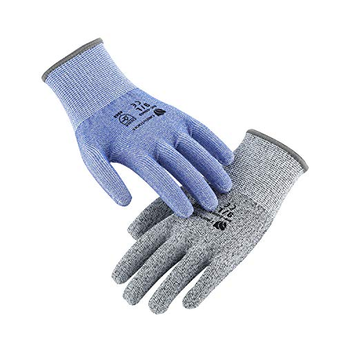 - ORIENTOOLS 2 Pack of Cut Resistant Gloves with Level 5 Protection, Safety Work Gloves with Durable Nylon & Fiberglass, Suitable for Cutting, Woodworking, Gardening(Blue&Grey, Size 9, Large)