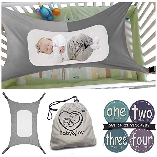 b, Mimics Womb, Bassinet Hammock Bed, Enhanced Material, Upgraded Safety Measures, Newborn Infant Nursery Bed by Baby&Joy (Bonus Gift Bag) (Gray) ()