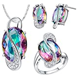 J.MOSUYA Womens 18k White Gold Plated Jewelry Sets Rainbow Topaz Necklace Earring Set (6)
