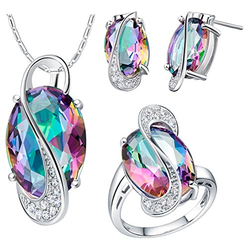 J.mosuya Womens 18k White Gold Plated Jewelry Sets Rainbow Topaz Necklace Earring Set (8)