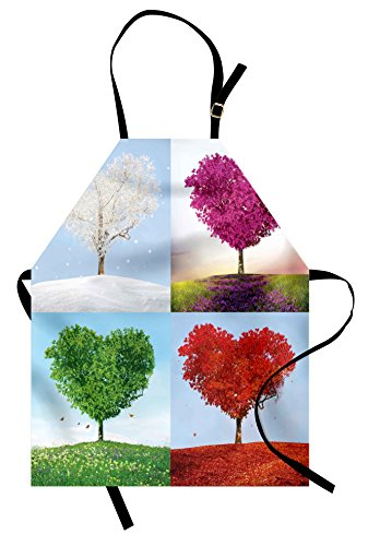 Ambesonne Nature Apron, Heart Shaped Trees in Four Seasons of Year Love and Adoration Themed Illustration, Unisex Kitchen Bib Apron with Adjustable Neck for Cooking Baking Gardening, Multicolor