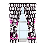 Disney Minnie Mouse Dots Are New Black Microfiber 4 Piece Curtain Panel & Tie Back