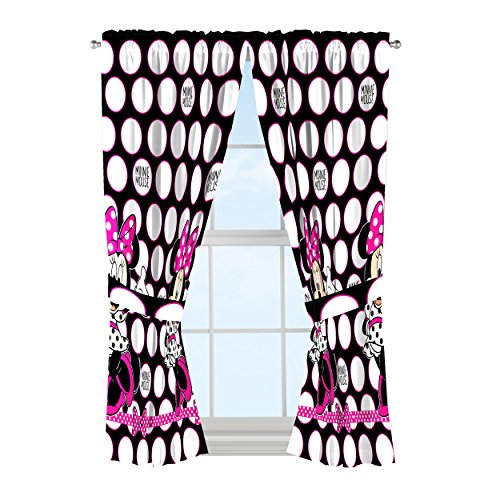 Disney Minnie Mouse Dots Are New Black Microfiber 4 Piece Curtain Panel & Tie ()
