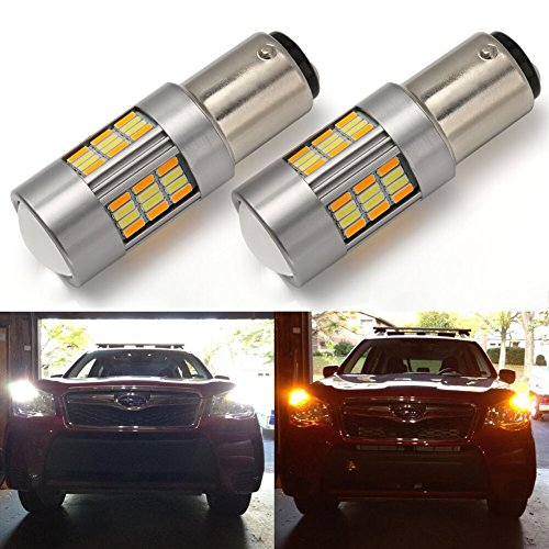 ENDPAGE 1157 2057 2357 2357A 7528 Switchback LED Bulbs White/Amber, Super Bright 62-SMD with Projector Lens for Turn Signal Lights (Pack of 2)