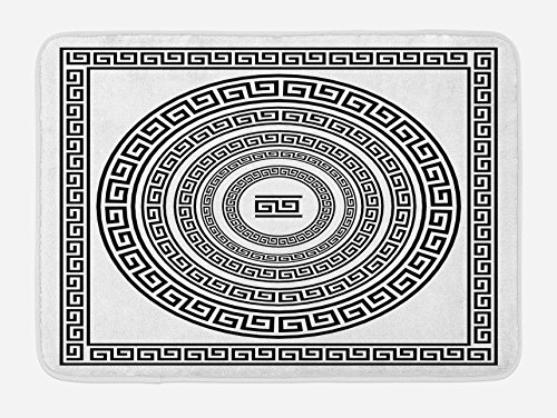 Ambesonne Greek Key Bath Mat, Traditional Meander Border Set with Square and Circles Antique Ethnic Frame Pack, Plush Bathroom Decor Mat with Non Slip Backing, 29.5 W X 17.5 L Inches, Black