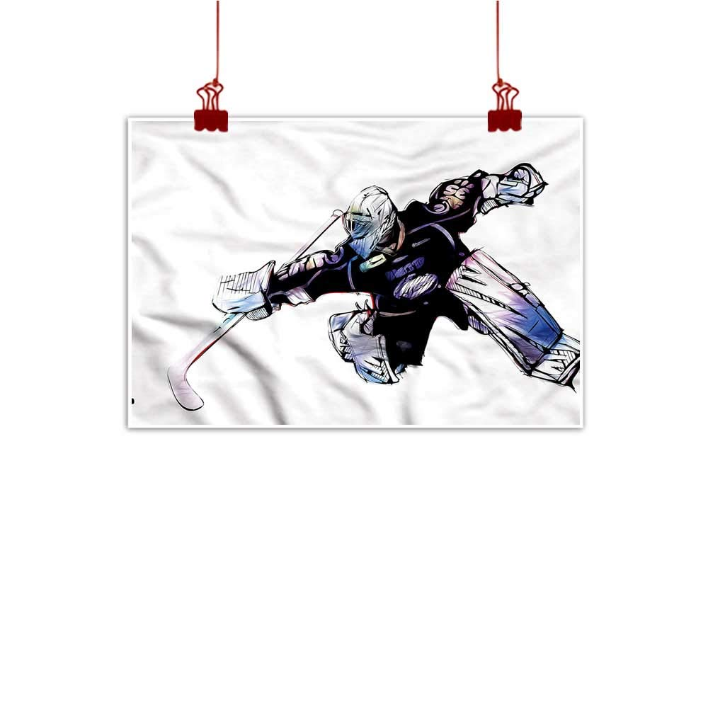 color07 24 x16  (60cm x 40cm) Mangooly Canvas Prints Wall Art Hockey,Black Player Silhouettes for Living Room Bedroom