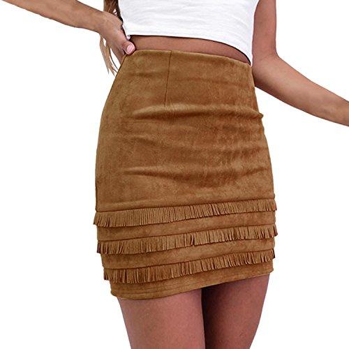 Casual Sexy Mini Jupe Ajust Taille Extensible Bureau Vintage Haute Femme Frange Patchwork Casual Eleery Elastique STv7w