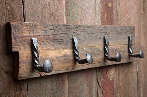 Twisted Reclaimed Railroad Spike 4 Hook Rack
