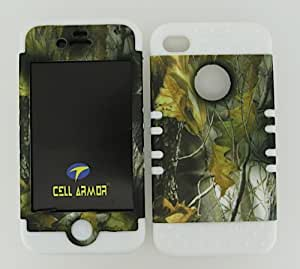 APPLE IPHONE 4G 4S CASE (CAMO LEAVES SNAP + White SKIN), SHOCKPROOF BUMPER COVER FOR IPHONE 4 4S 4G, HIGH IMPACT DUAL LAYER PROTECTIVE HARD & SOFT RUBBER HYBRID - WH-WFL026 CELLPHONE [ACCESSORIES N MORE]