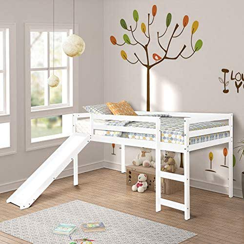 Harper & Bright Designs Twin Loft Bed with Slide for Kids/Toddlers, Wood Low Sturdy Loft Bed, No Box Spring Needed, White
