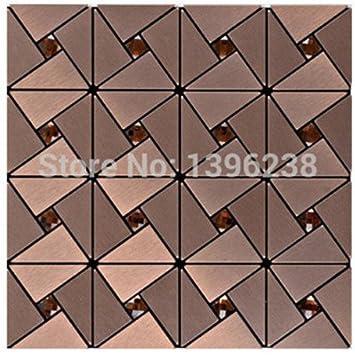 Aluminium Kunststoff Spiegel Glas Mosaikfliesen, Selbstklebend 30x30cm  Metall Mosaik Fliesen Aufkleber Küche Backsplash
