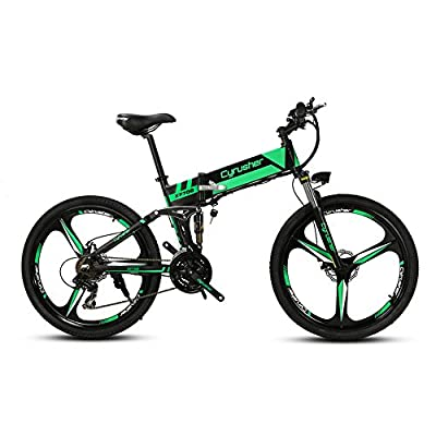 Cyrusher XF700 Folding Electric Bike 26 inch Mountain Bicycle Full Suspension 36V8AH Hidden Battery Shimano 21 Speeds Double Mechanical Disc Brake