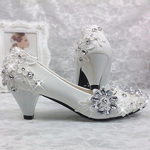JINGXINSTORE Fiore di pizzo sposa sposa sposa sposa damigella scarpe singolo cristallo bianco Strass scarpe matrimonio, 5cm, UK6 c9bf62