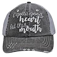 Women's Baseball caps I Gotta Good Heart but This Mouth Trucker Style hat Black/Grey